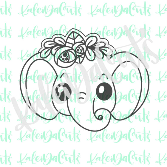 Floral Elephant Face Cookie Cutter