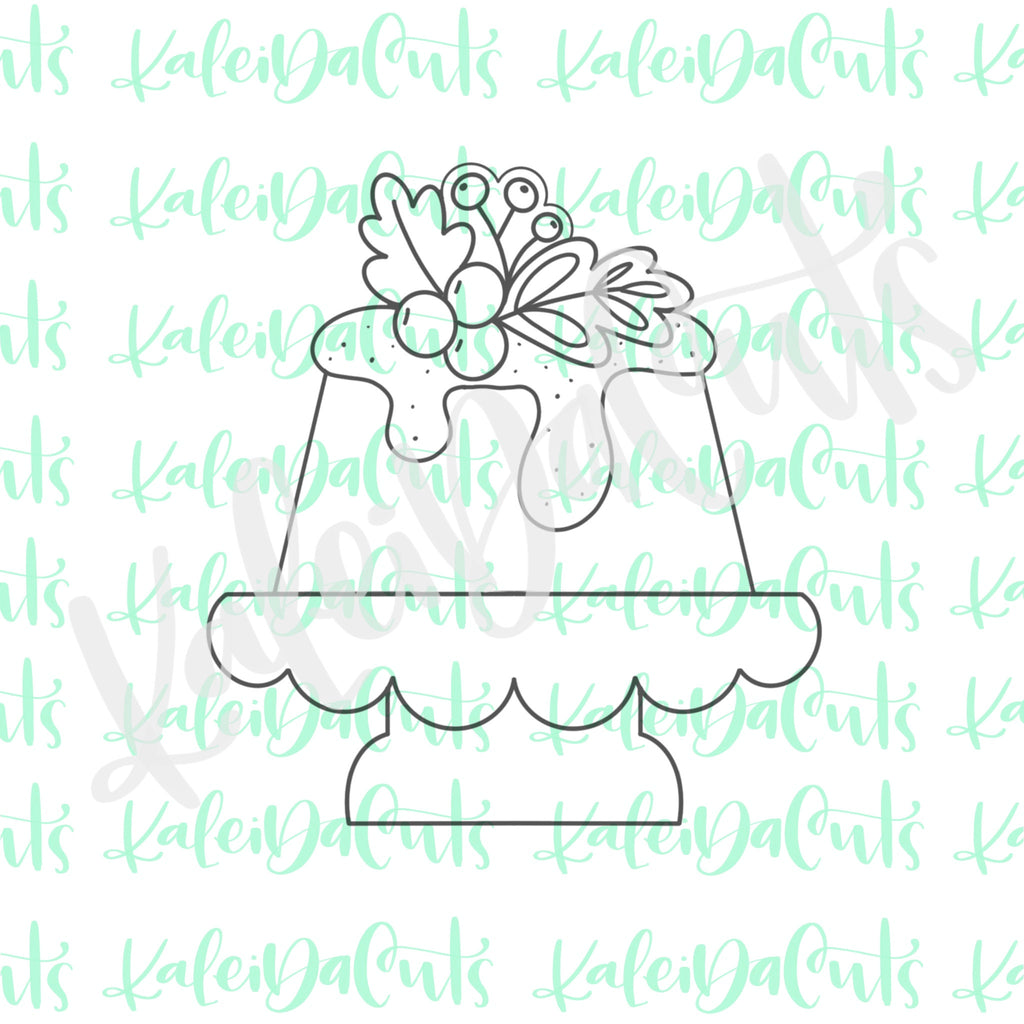 Floral Cake Stand Cookie Cutter
