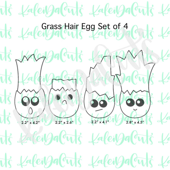 Grass Hair Egg Set of 4 Cookie Cutters