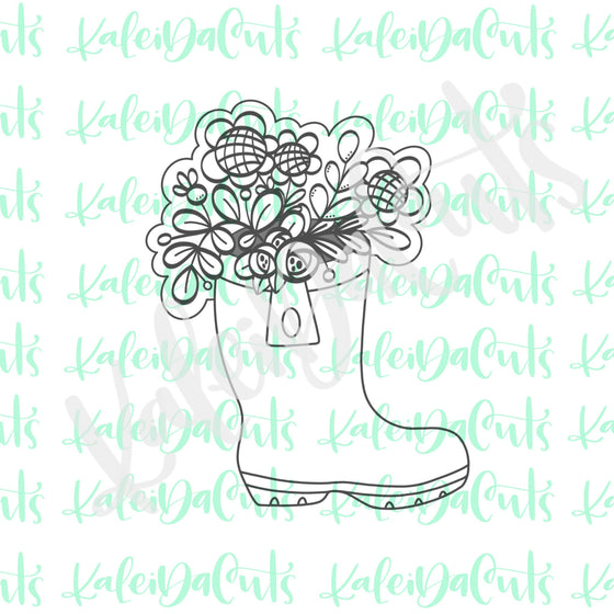 Floral Rainboot Cookie Cutter