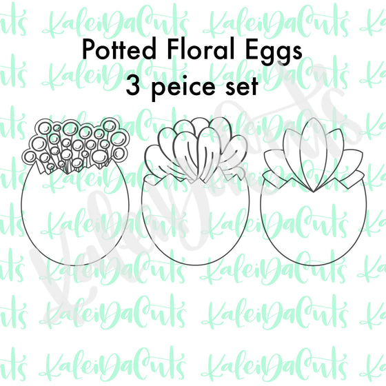 Potted Floral Eggs Set of 3 Cookie Cutters