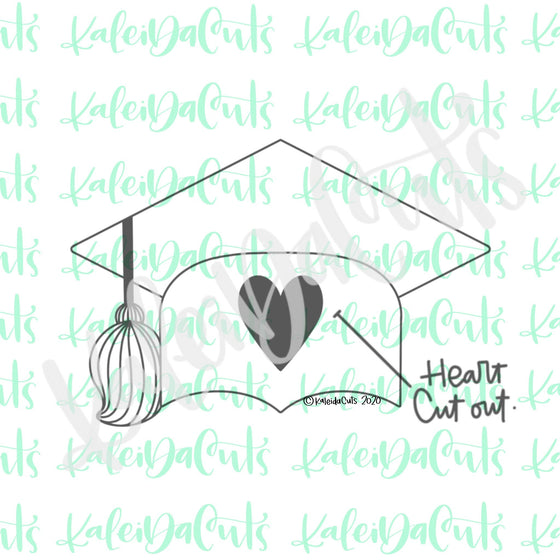 Grad Hat Heart Cutout Cookie Cutter