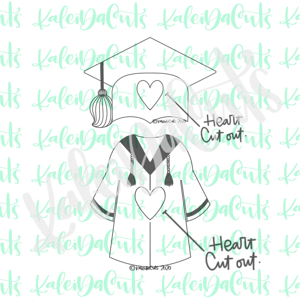 Grad Gown Heart Cutout Cookie Cutter