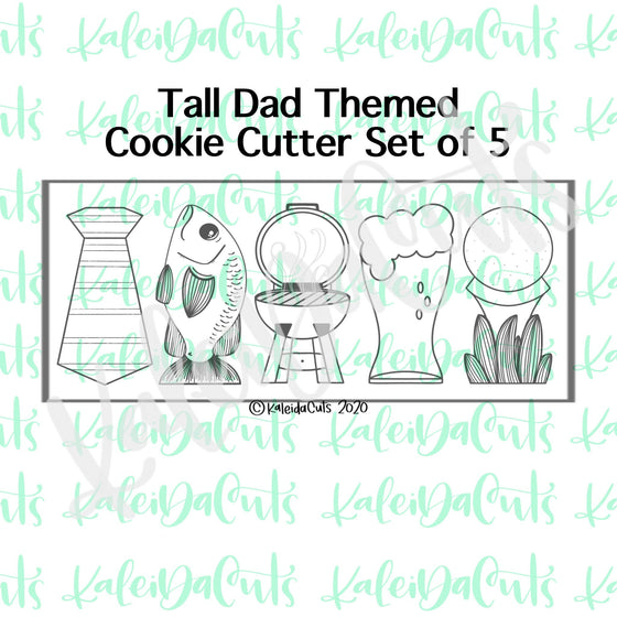 Tall Dad Themed Cookie Cutters Set of 5