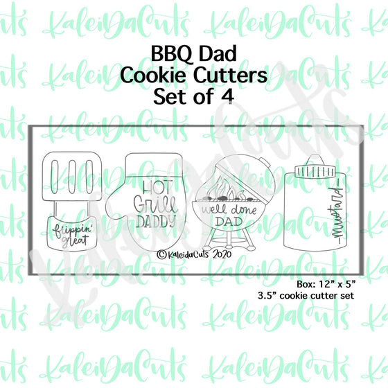 BBQ Dad Cookie Cutters Set of 4