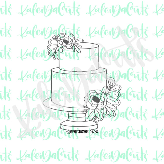 Two Tier Floral Wedding Cake Cookie Cutter