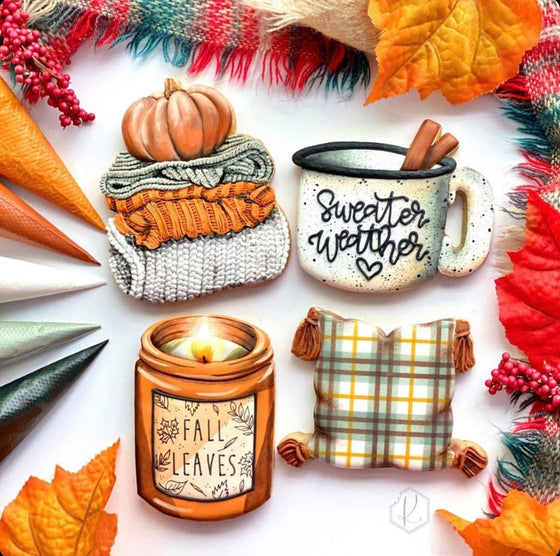 "Kirkie Kookies' ""Cozy Fall"" Set of 4 Cookie Cutters"