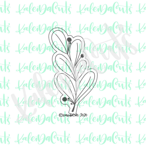 Tall Floral Sage Cookie Cutter (cookie stick)