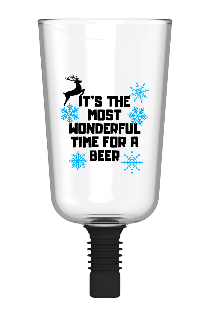 Guzzle Buddy 2GO Unbreakable - Tritan Plastic Beer Bottle Glass 'It's the Most Wonderful Time For a Beer'
