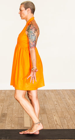 orange 100% cotton voile dress, grace a toi dress, yoga dress, sacral chakra dress, made in USA, made in LA