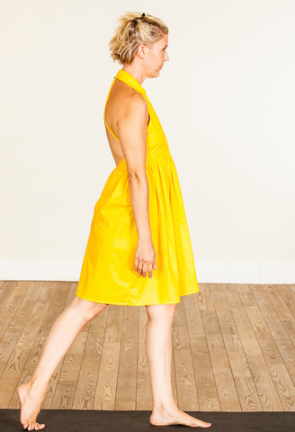 yellow 100% cotton voile dress, grace a toi dress, yoga dress, solar plexus chakra dress, made in USA, made in LA
