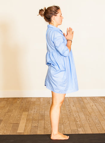 sky blue 100% cotton voile dress, grace a toi dress, yoga dress, throat chakra dress, made in USA, made in LA