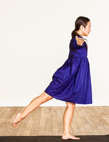 indigo blue or royal blue 100% cotton voile dress, grace a toi dress, yoga dress, third eye chakra dress, made in USA, made in LA