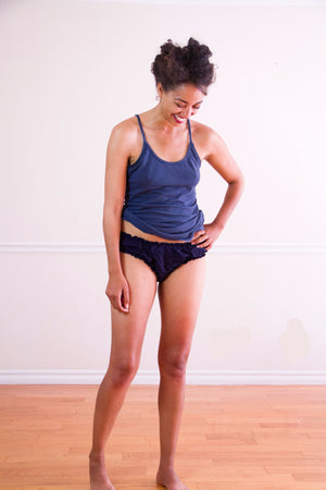 Christine Quigless, Fun American Made LA Made Gray Rayon Comfortable Underwear Bloomers Comfy Undies