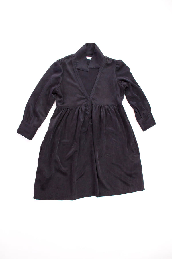 Black Silk Dress Black Heavy Charmeuse Silk American Made dressdressdress.com grâce à toi dress