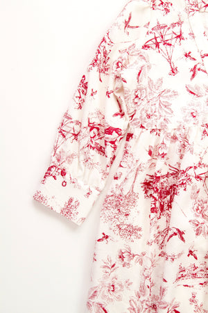 Red and White Toile Rayon Fun Pre During Post Natal Office American Made dressdressdress.com