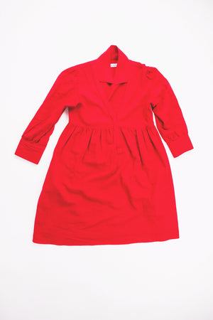 Red Linen Fun Natal Office-Friendly American Made dressdressdress.com grâce à toi dress