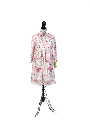 To Celebrate, A Red on White Toile Print Dress