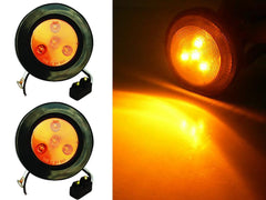 2.5 inch Round Marker Light 4 LED - Amber - 2Pcs - | F235169