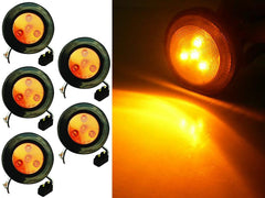 2.5 inch Round Marker Light 4 LED - Amber - 5Pcs - | F235169