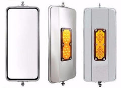 7 inch X 16 inch West Coast Mirror Heated with Amber Led Light Stainless Steel