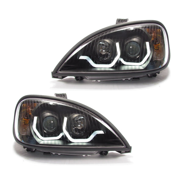 Freightliner Columbia Projection Headlight Black Housing with LED Light Bar