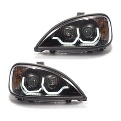 Freightliner Columbia Projector Headlight Black Housing with LED Light Bar