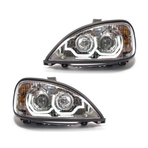 Freightliner Columbia Projection Headlight Chrome Housing with LED Light Bar