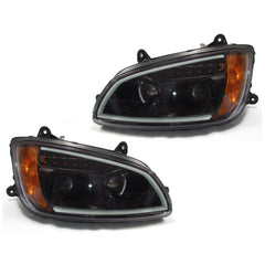 Kenworth T660 Black Projector Headlights w/LED Bar & Signal for 2008-2016