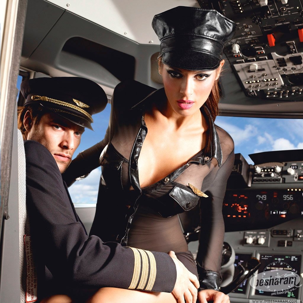 Baci Black Stewardess Uniform with long sleeves, hat and pin