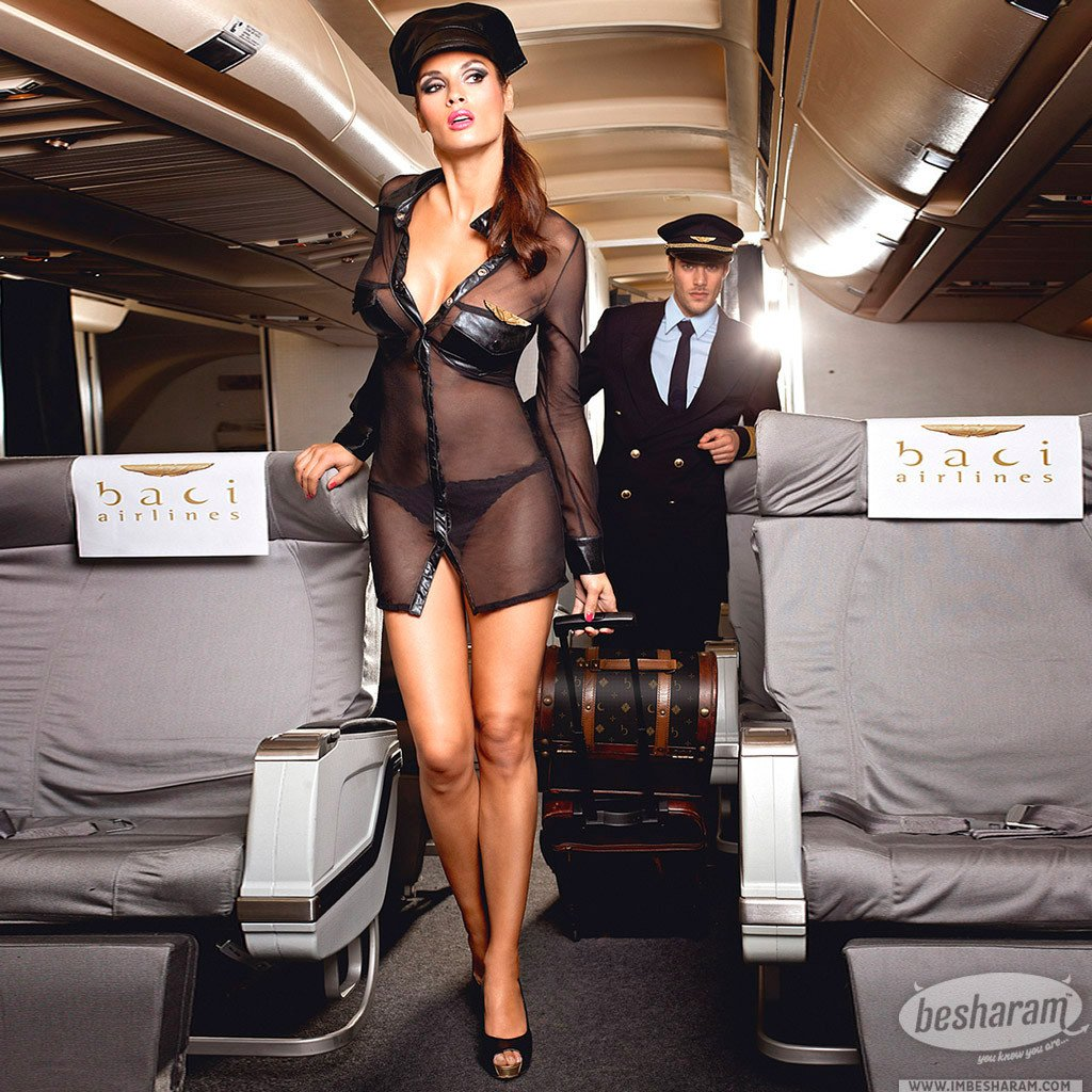 Baci Black Stewardess Uniform with long sleeves, hat and pin main image 3