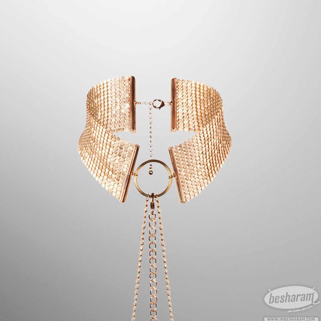 Bijoux Indiscrets Desir Metallique - Metallic mesh gold collar