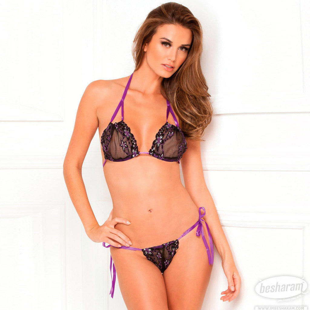 Rene Rofe Lace Tie-Up Bra & Thong