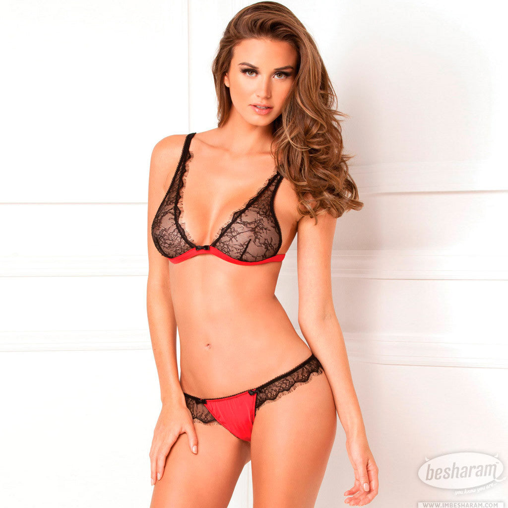 Rene Rofe Spellbound Lace Bra & Thong Set