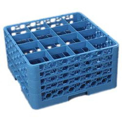 Carlisle RG16414 Full-Size Dishwasher Glass Rack - 16-Compartments, 4-Extenders, Blue - demodsl