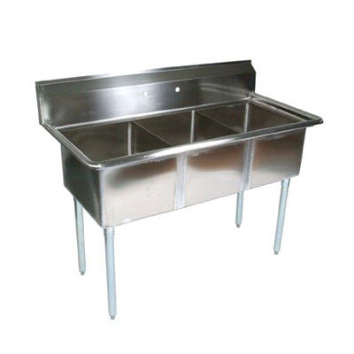 "John Boos E3S8-15-14 50.5"" 3-Compartment Sink w/ 15""L x 15""W Bowl, 14"" Deep - demodsl"