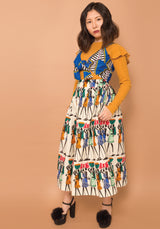"Doris ""Humans Print"" Pleated Skirt"
