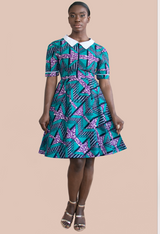 Jayne White-Collar Printed Dress