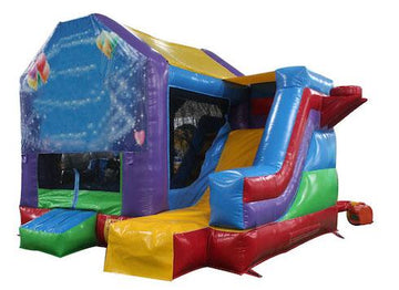 superhero themed bouncy castle with slide
