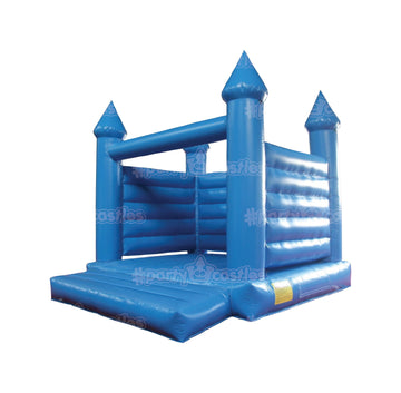 all blue bouncy castle on the side