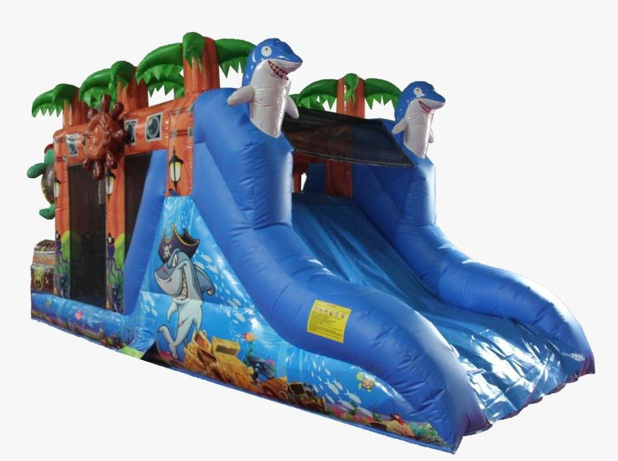 treasure island pirate themed tropical bouncy castle