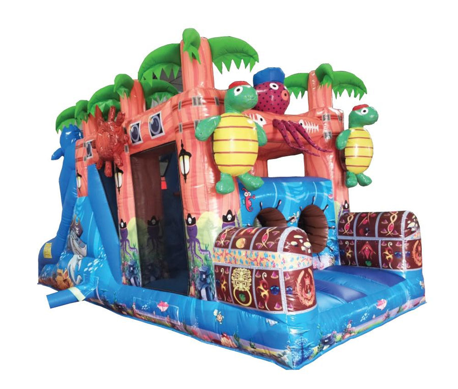 pirate treasure tropical themed bouncy castle