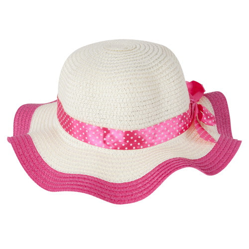 "Momo Grow Girls ""Molly"" Hot Pink Trimmed Floppy Sun Hat with Polka Dot Ribbon"