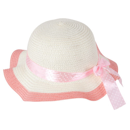 "Momo Grow Girls ""Molly"" Pink Trimmed Floppy Sun Hat with Polka Dot Ribbon"