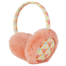 "Momo Grow ""Elsie"" Faux Fur Trimmed Checkered Pattern Earmuffs (Fits Toddler to Adult) - Peach"