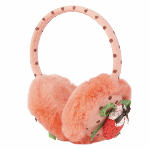 "Momo Grow ""Allee"" Faux Fur Trimmed Strawberry Bow Dotted Earmuffs (Fits Toddler to Adult) - Coral"