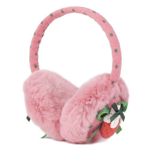 "Momo Grow ""Allee"" Faux Fur Trimmed Strawberry Bow Dotted Earmuffs (Fits Toddler to Adult) - Pink"