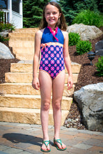"Momo Grow Girls 4-12 One Piece ""Daisy"" Halter Swimwear"