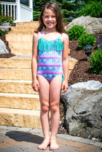 "Momo Grow Girls 4-12 One Piece ""Summer"" Fringe Swimsuit"