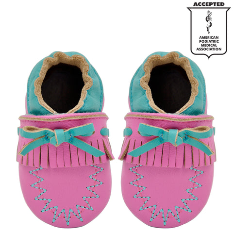 0b2b34cf36d Momo Baby Girls Soft Sole Leather Crib Bootie Shoes - Moccasin ...